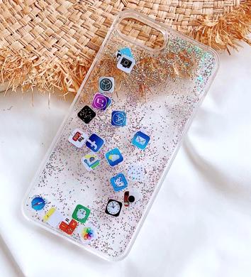 Рідкий силіконовий чохол блискітки на iPhone 7 (Айфон 7) з іконками айфона 38f5da12a0d00